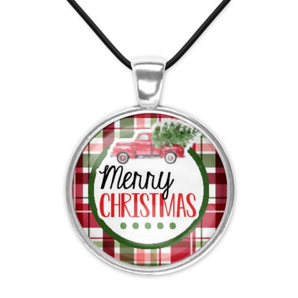 Merry Christmas Red Retro Farm Truck Glass Pendant Necklace New Christmas New